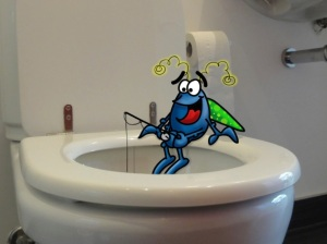 Dung beetle and toilet