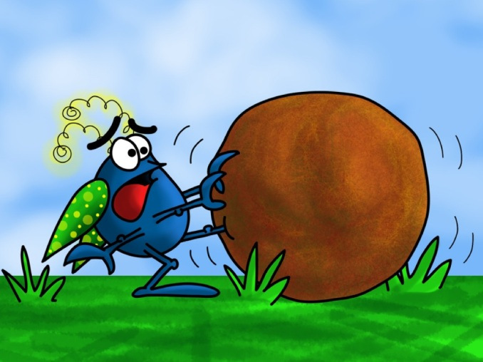 Doug dung beetle gets stuck in a ball of dung