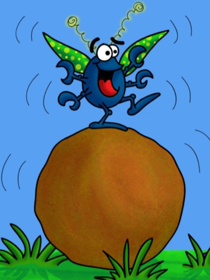 Doug dung beetle dances on top of his dung ball